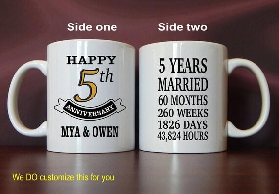 Forty Fifth Wedding Anniversary Gifts: 5th Wedding Anniversary Mug Gift Personalized Custom Mugs