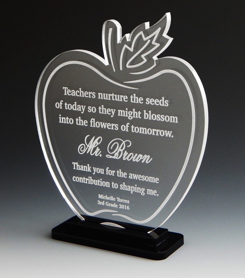 Awesome Teacher Award Custom Personalized Award Plaque Gift Thanks Gray Trophy