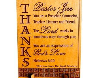 Personalized Gift for Pastor - Gifts for Pastors - Youth Pastor Appreciation Plaque - Anniversary Gift, PLP041