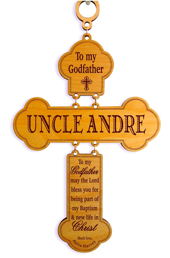 Godfather Baptism Gift from Goddaughter - Gifts for Godparents from Godson  - Personalized Wood Wall Cross