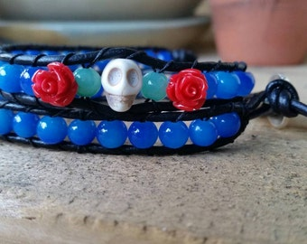 Leather Wrap Bracelet; Day of The Dead (Blue)