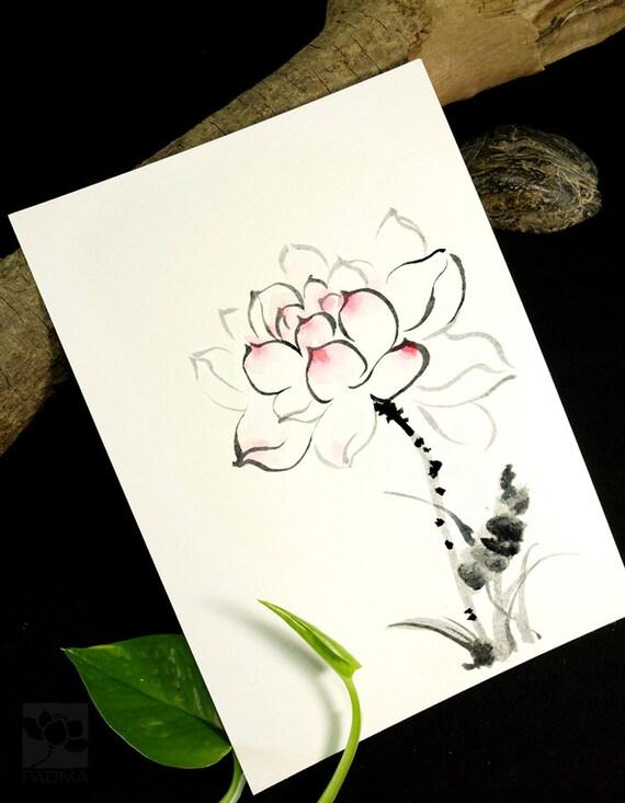 Pure Lotus Bloemen Origineel Schilderij Tekening Aquarel Etsy