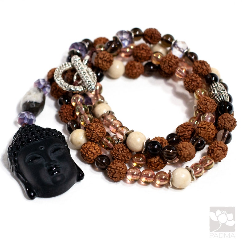 Black Obsidian Carved Buddha Pendant Rudraksha beads red jade Prayer beads Handmade Mala Necklace