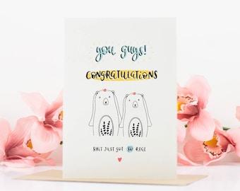 Lustige Engagement Karte   Frau Und Frau Card   Homosexuell Hochzeit Karten    Glückwunsch Karte   Lustig Hochzeitskarte   Lustige Karten