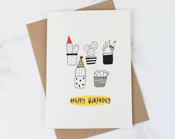 Birthday card - Funny Cards - Plant Lover - Crazy plant lady - Birthday Card for her - Succulent - Cactus