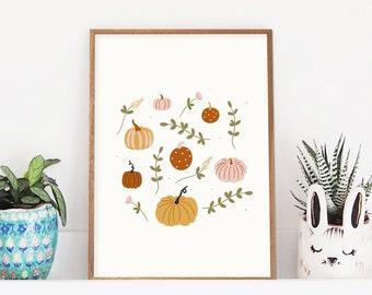 Pumpkin and Flowers Print | Pumpkin Wall Art | Autumn Fall Decor