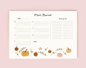 Pumpkin Meal Planner Notepad | Family Meal Organiser | Autumn Decor