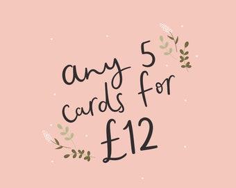 5 Card Bulk Offer - Birthday Card - Anniversary Card - Christmas Cards - Moving - Friendship Cards
