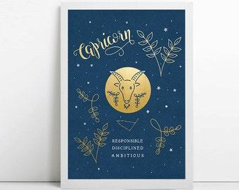 Capricorn, zodiac art print, star sign, astrology gifts, christmas gift