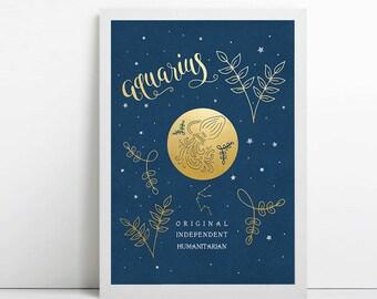 Aquarius, zodiac art print, star sign, astrology gifts, birthday gift