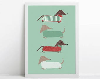 dachshund art,  sausage dog print, Wiener Dog, dachshund gift, dog lover, dog art, modern art