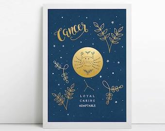 Cancer, zodiac art print, star sign, astrology gifts, birthday gift