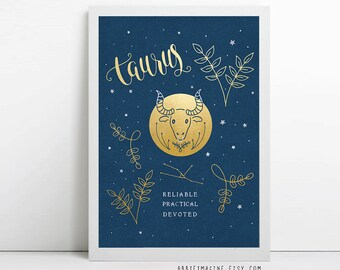 Taurus, zodiac art print, star sign, astrology gifts, birthday gift