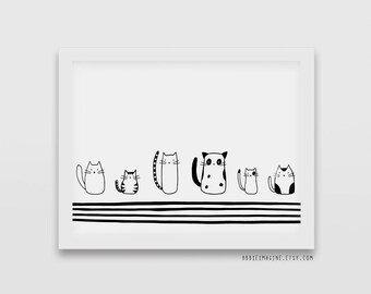 Cat Print - Cat Lover Gift - Crazy Cat Lady -  Black and white print