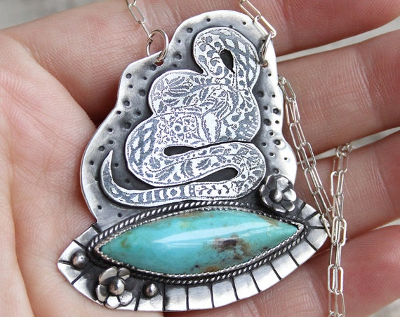 Flora & Fauna Totem Volume II: The Snake. Royston Turquoise and Sterling Silver.