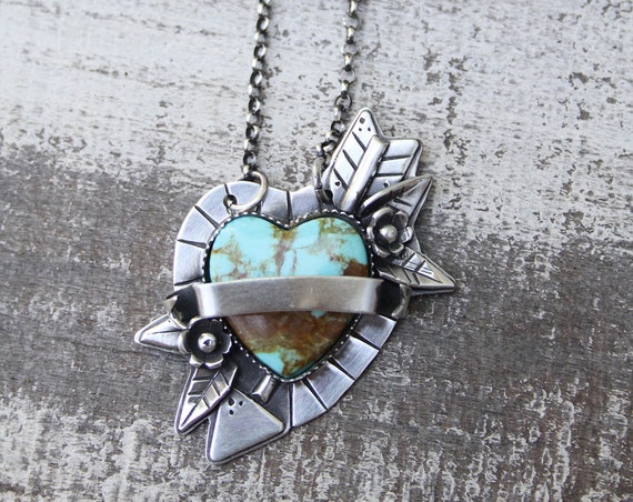 Personalized Cupids Arrow Pendant Handmade With Sterling Silver & Kingman Turquoise