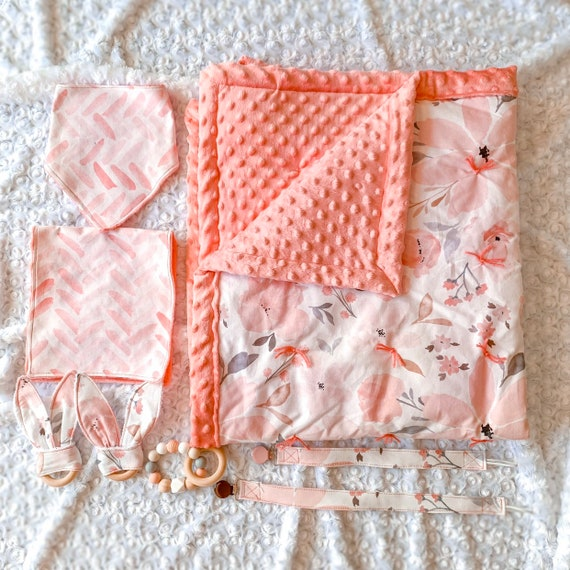 Handmade Matching Baby Blanket Set Peach Flowers