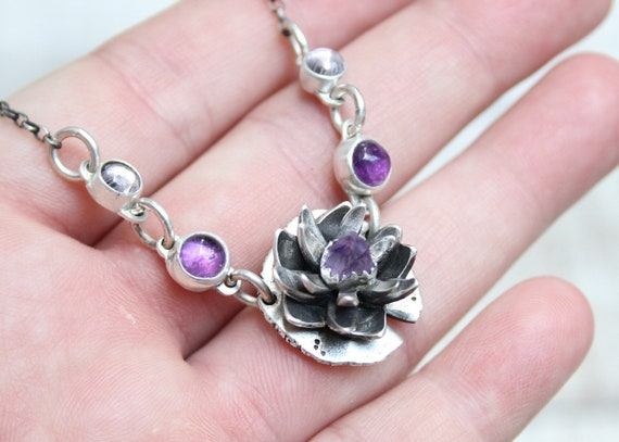 Lotus Flower Necklace Handmade With Sterling Silver & Amethyst