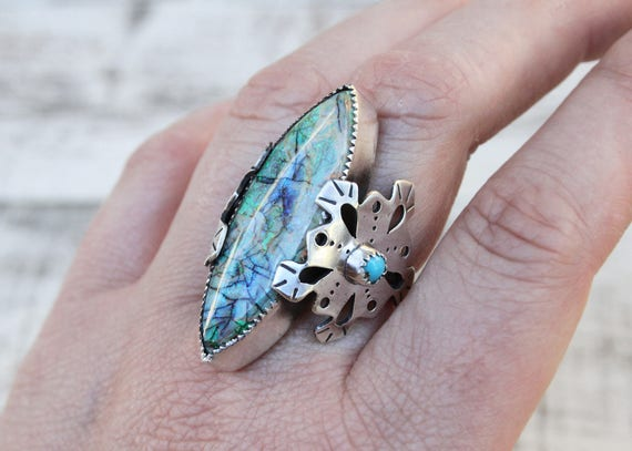 Sterling Opal Snowflake Ring With Sleeping Beauty Turquoise & Sterling Silver.