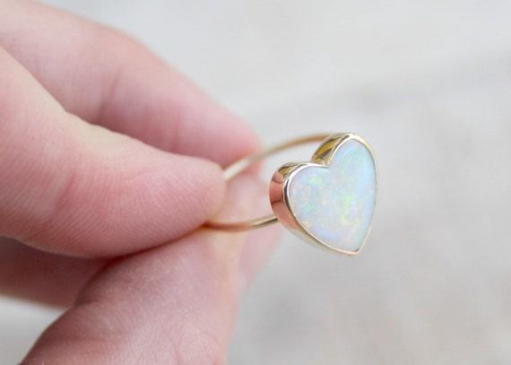 14k Yellow Gold & High Grade Opal Heart Ring