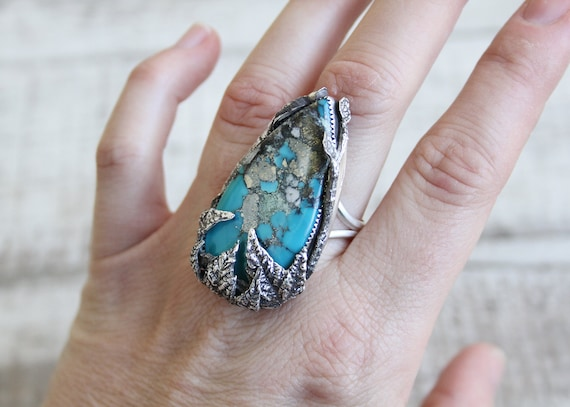 Morenci Turquoise With Pyrite Inclusions Sterling Silver Ring Handmade With Twigs & Maple Leaves