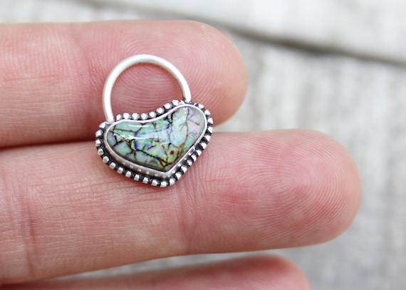 Sterling Silver Septum Ring Handmade With Sterling Opal 16 Gauge