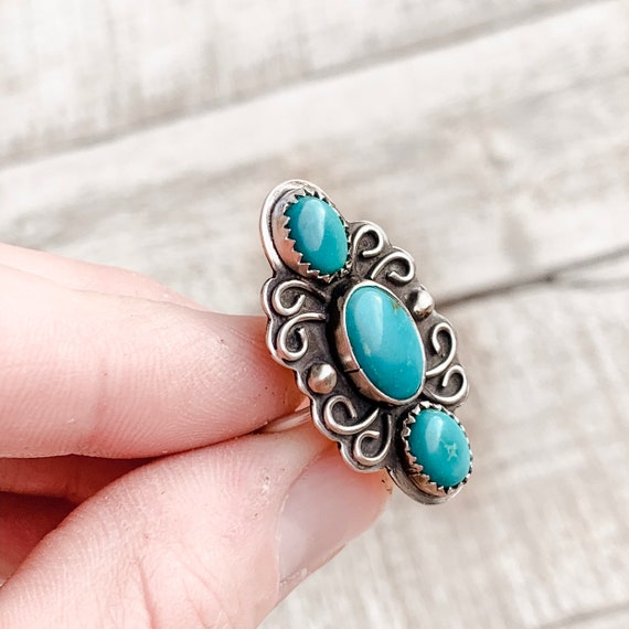 Handmade Kingman Turquoise Ring In Sterling Silver Size 7
