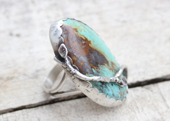 Kingman Turquoise Twig Ring Set In Sterling Silver