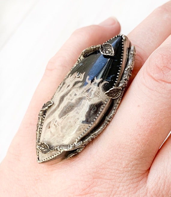 Handmade Petrified Palm Root Twig Ring In Sterling Silver