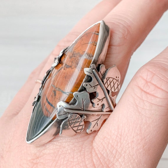 Bloodstone Autumn Oak Ring Handmade With Sterling Silver