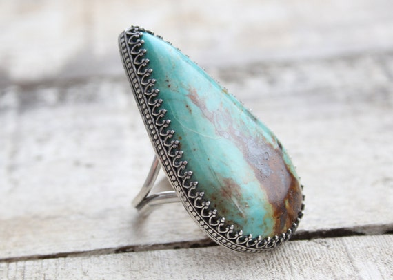 Kingman Turquoise Statement Ring Set In Sterling Silver
