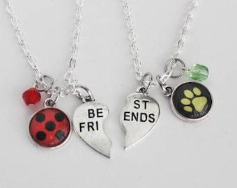 Ladybug Chat Noir BFF Necklace Set Friendship Jewelry Miraculous Ladybug Cat Noir Jewelry Superhero Girl Gift Marinette Cheng Adrien Agreste