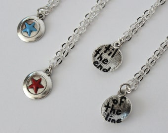 BFF Stucky Necklace Set Hand Painted Steve Rogers Bucky Barnes Marvel Inspired Friendship Jewelry Captain America Winter Soldier Til The End
