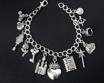 Disney Princess Charm Bracelet Disney Inspired Jewelry Silver Princess Charm Cinderella Snow White Belle Ariel Merida Disneybound Girl Gift