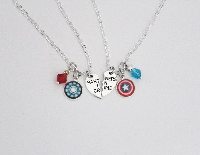 Steve Tony BFF Necklace Set Marvel Comic Inspired Jewelry Steve Rogers Tony  Stark Captain America Iron Man Stony Friendship Jewelry OTP Gift