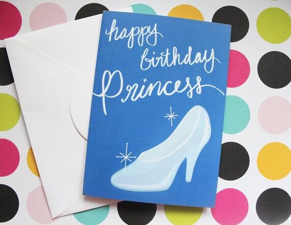 Happy Birthday Princess Card Cinderella Birthday Card Disney Etsy