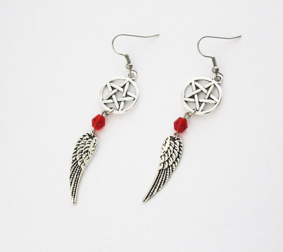 Supernatural INSPIRED Earrings Sam Winchester Dean Winchester and Castiel