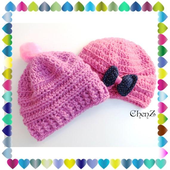 Baby girl pink Pom Pom hats baby girl pink crochet beanie  b36190ad1b1