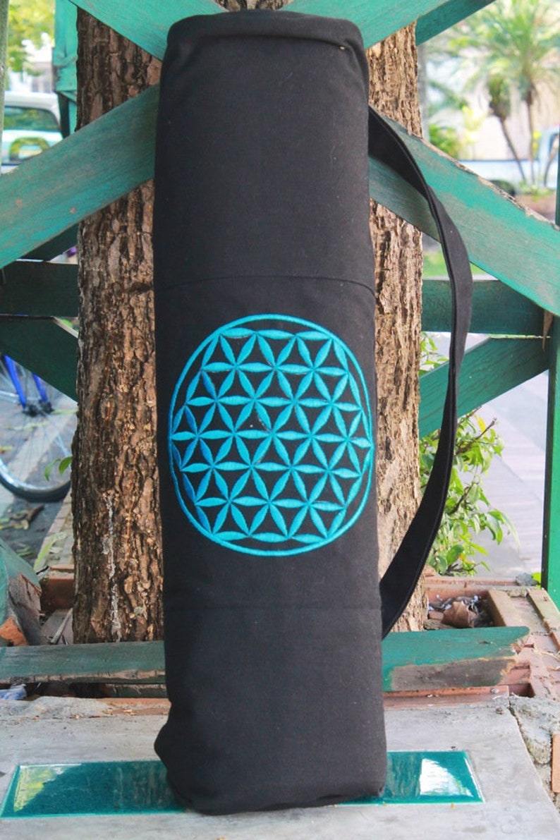 5e0dd36d6c50 Embroidered Flower of Life Yoga Mat Bag TEAL SKU 1783-02
