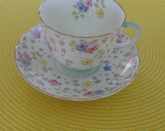 FOLEY ENGLISH CHINA Cup and Saucer.  Green/Gold Trim
