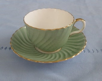 AYNSLEY CUP and SAUCER, Pale Green, Ridged Sides.  Bone China. Made in England.