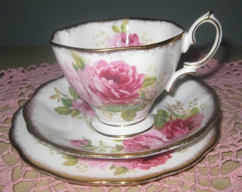 ROYAL ALBERT AMERICAN Beauty Bone China Cup, Saucer, Plate.  Made in England