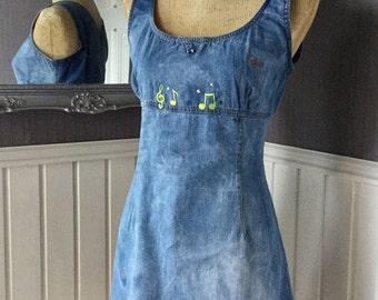 Denim Pinafore, Shift Dress, Guess Dress, Vintage Denim Dress, Stonewashed Denim