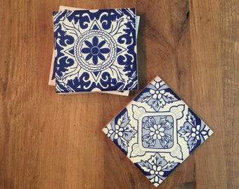 Grab Bag: Blue & Whites Tile Coasters (set of 4)