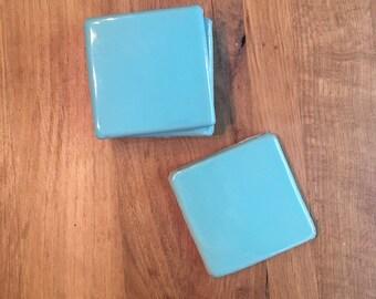 Vintage Turquoise Tile Coaster Set (4)