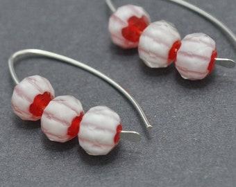 Sterling Silver Hoops, Everyday Earrings, Wishbone hoops, Christmas Earrings, Candy Cane Earrings