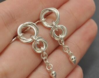 Love Knot Earrings, Sterling Silver Dangle Earrings, Knot Earrings, Long Dangle Earrings