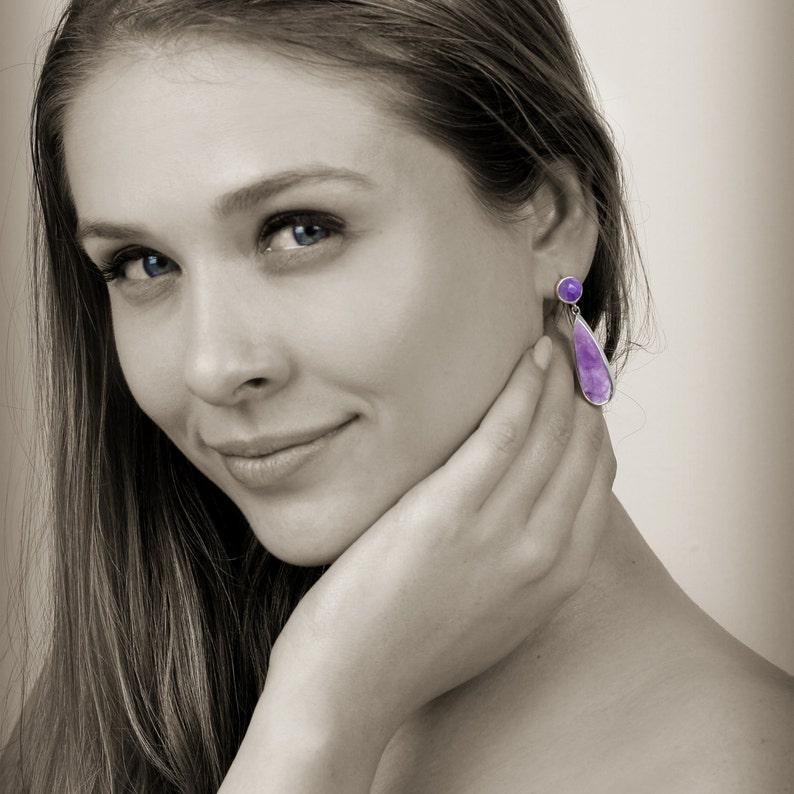 Silver amethyst earrings,long multistone earrings,February birthstone earrings,Purple earrings,purple stone earrings