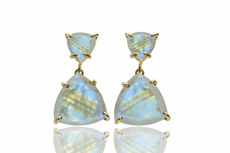 Moonstone rainbow earrings,unique gold earrings,handmade prong earrings,gold filled earrings,gemstone earrings