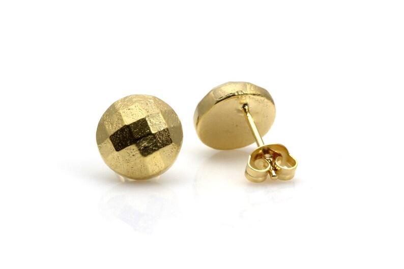Faceted metal earrings,gold earrings,post earrings,stud earrings,round earrings,handmade earrings,rose gold earrings